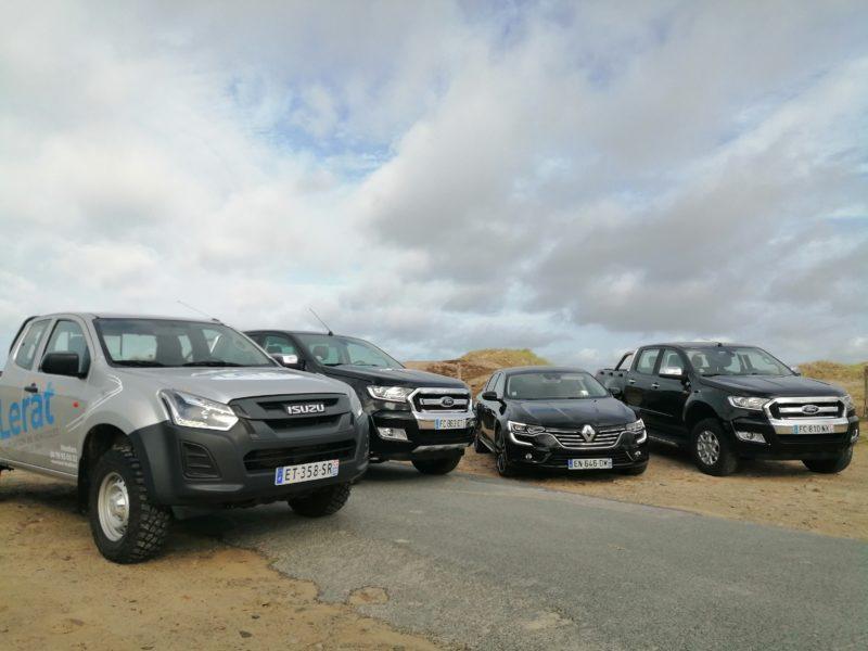 Des véhicules Lerat location sur la plage de Cherbourg